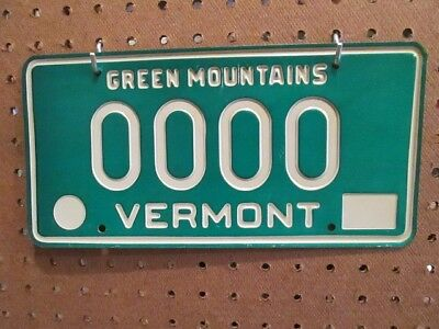 Vintage 1977 1978 Vermont Sample License Plate # 0000 Green Mountains RARE