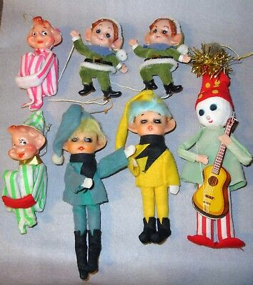 Vintage Lot Of Elf Knee Huggers Pixie Elves Guitar Man Christmas Ornaments Japan