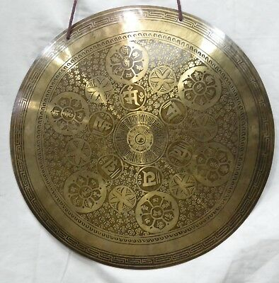Gong 46cm 3kg Tibetan Temple OM Mantra Carving  Hand made Nepal Yoga Meditation