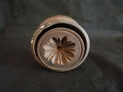Small Antique Wooden Butter Mold with Blooming Flower Carving