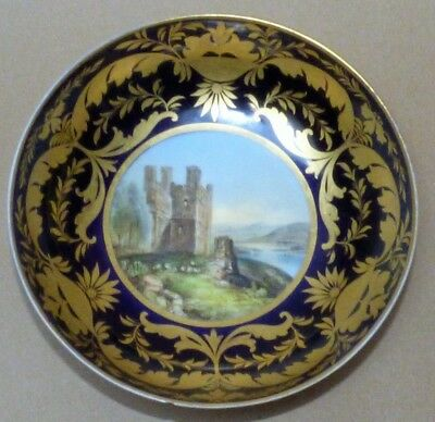 A Fine Derby Topographical Saucer Pinted With A View Of Brough Castle Circa 1810