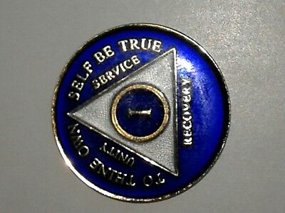 AA Blue Gold 1 Year Coin Tri-Plate Alcoholics Anonymous Medallion Sobriety Chip