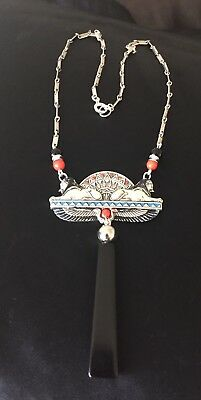 Art Deco Egyptian Revival Sphinx Necklace Silvertone & Black Bakelite /galalith