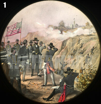 Civil War Magic Lantern Slide: Siege of Vicksburg Mississippi, May-July 1863