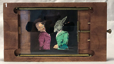 Animated Magic Lantern Slip-Slide: Donkey & Ape Debate Politics & Evolution