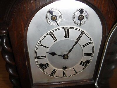 Vintage Wooden Clock 8 Day 3 Key Holes Germany.