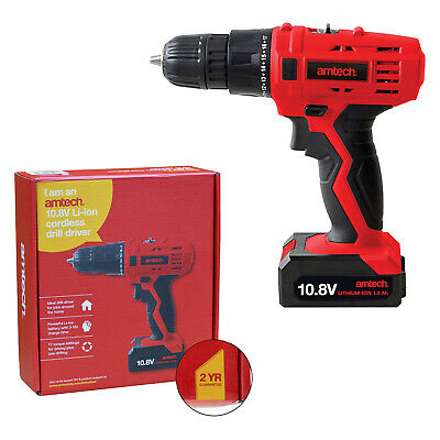 Amtech 10.8V Li-Ion Cordless Rechargeable Drill Driver 17 Torque 2 Year Warranty