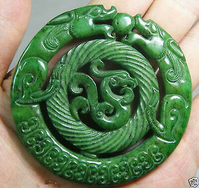 Chinese Old Handwork Carve Green Jade Dragon Pendant A14