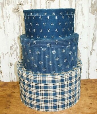 xl set of 3 , early blue calico covered boxes, covered in genuine textile