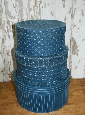 large set of 3 , early blue calico covered boxes, covered in genuine textile