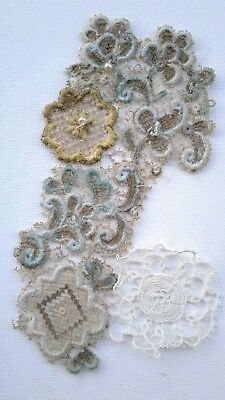 2 Antique c1910 French Appliques Ecru Tatted Needle Lace Floral Silk Stumpwork