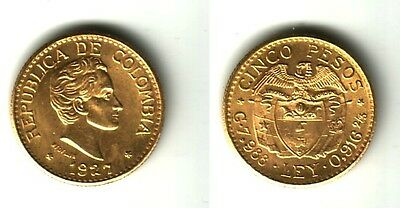 COLOMBIA BU 1927 FIVE gold Pesos Simon Bolivar NO RANDOM DATE--hand selected