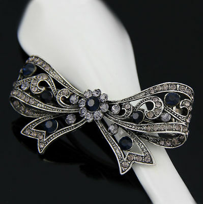 Dark Black Butterfly Bow Vintage women wedding party accessories Hairpin clips