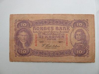 NORWAY 1917 10 KRONER banknote paper money Norges Bank