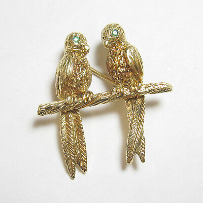 Estate 14K Yellow Gold Natural Emerald Detailed Love Birds On Branch Brooch