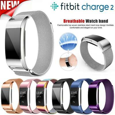 Magnetic Metal Milanese Loop Stainless Steel Watch Band Strap Fr Fitbit Charge 2