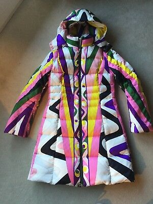 EMILIO PUCCI Jacke Mantel long quilted hooded winter coat jacket US8 CH38 UK10