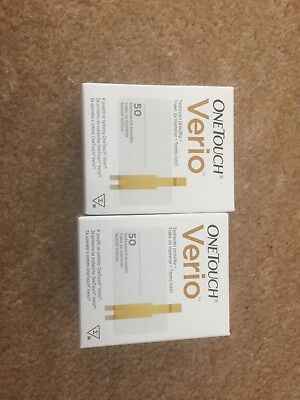 2 Boxes Of ONE TOUCH VERIO TEST STRIPS - 50. (100 Strips In Total) 5/2018