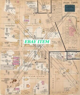 AILSA CRAIG ( Middlesex County ) ONTARIO THREE Street & Building Maps 1890-1906