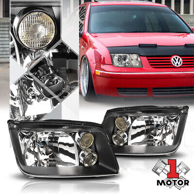 Black Housing Crystal Clear Lens Headlight Fog Lamp for 99-05 VW Jetta/Bora MK4