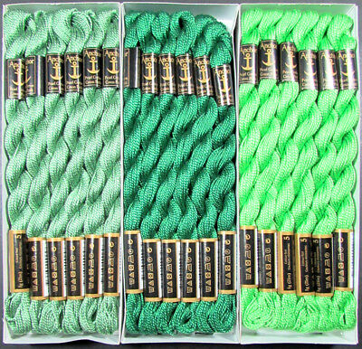 36x Needlepoint/Embroidery THREAD Anchor Cotton Pearl 5/Green-FL186
