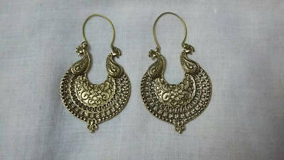 Handmade Solid Brass Beautiful Peacock Designing Earing Pair Light Weight