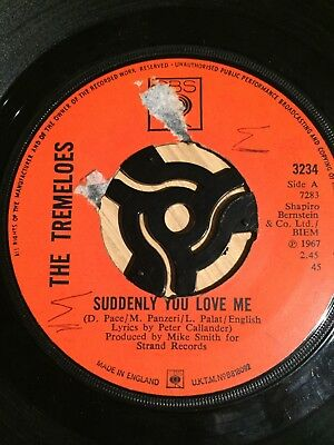 """The Tremeloes : Suddenly You Love Me + As You Are UK CBS 7"""" 45 1967"""