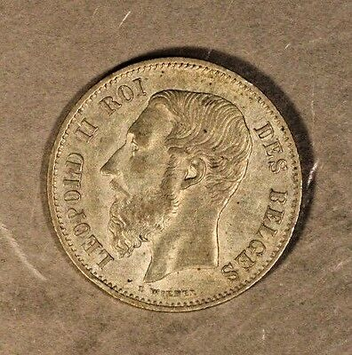 1866 Belgium 50 Centimes Higher Grade Silver        ** FREE U.S. SHIPPING **