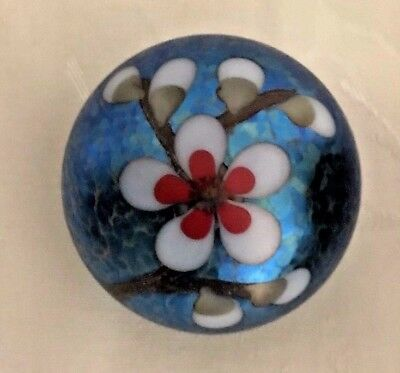 Orient and Flume Blue Iridescent Almond Blossom Glass Paperweight 2.5 in diam