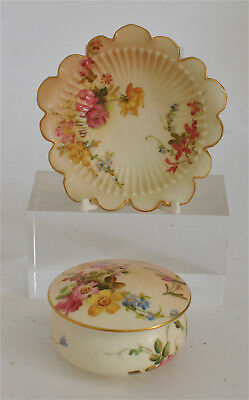 Royal Worcester Blush Hand-Painted Antique Round Pillbox 1901 & Pin Tray 1903