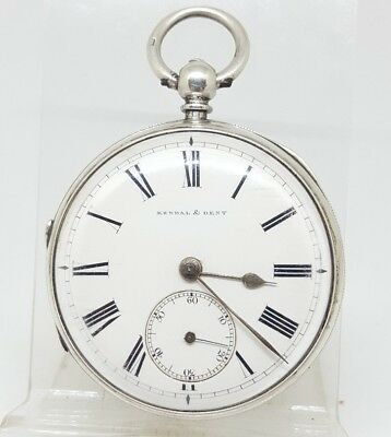 Chunky Antique solid silver Kendal & Dent  pocket watch 1888 working