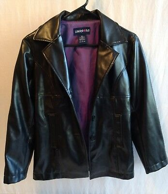 Girls LIMITED TOO Black Faux Leather Jacket Coat size Small