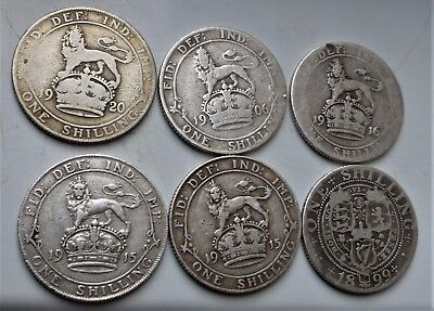 6 X (.925 Silver) Shilling Coins Victoria ,edward V Ii, George Very Nice Lot.