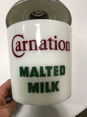 Vintage Carnation Malted Milk Aluminum Canister With Lid