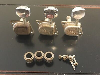 "(3) Vintage 1966 Fender ""F"" tuners left side, lefty"