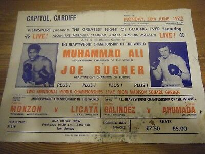 30.06.1975   MUHAMMAD ALI v  JOE BUGNER -   CAPITOL - CARDIFF-  VIEWSPORT FLYER