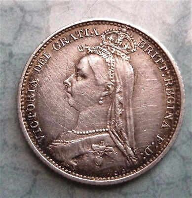 1887 Victoria Silver Sixpence (Withdrawn Type) ,good Details