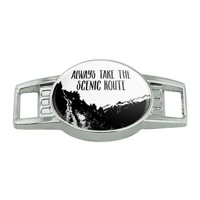 Always Take the Scenic Route Hiking Travel Shoe Shoelace Tag Runner Gym Charm