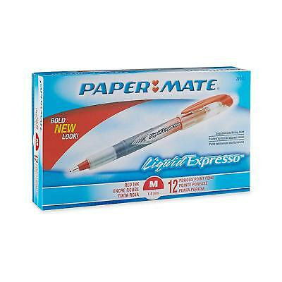 Paper Mate Liquid Flair Porous Point Pens, 1.0mm Medium Point, Red Ink, 12-Count