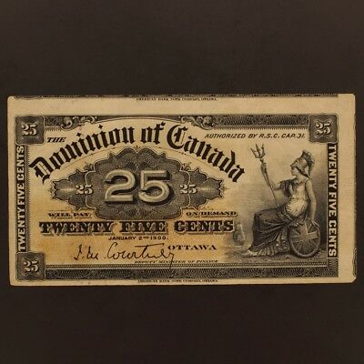 Canada 25 Cents 2.1.1900 DC-15a Banknote VF+ - Cut w/ 2 Other Notes Visible