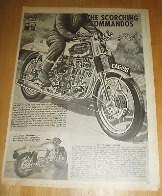 EAGLE  STUNNING  CUTAWAY DRAWING  NORTON COMMANDO 750cc MOTORCYCLE  FROM 1967