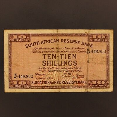 South Africa 10 Shillings 1.4.1944 P#82d Banknote F+