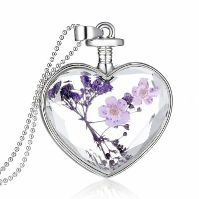 Fashion Natural Real Dried Flower Silver Heart Glass Pendant Necklace Jewelry