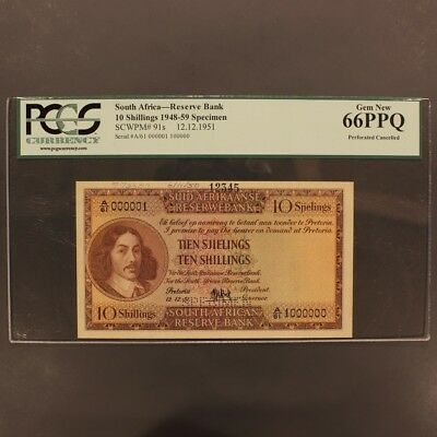 South Africa 10 Shillings 12.12.1951 P#91s SPECIMEN Banknote PCGS 66PPQ Gem New