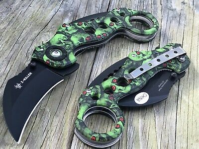 """7.75"""" Tac Force Assisted Open Tactical Karambit Green Skull Zombie Folding Knife"""