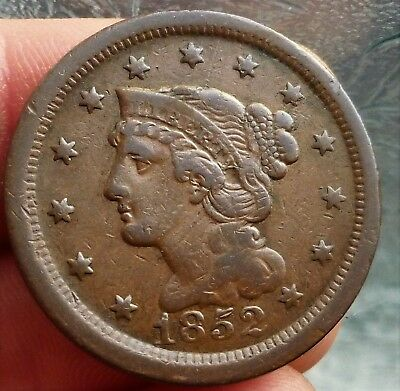 1852 U.s.a Liberty Head,large One Cent, Very Nice Detailed Coin
