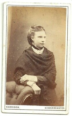 Victorian cdv photo young lady lace shawl Kidderminster photographer
