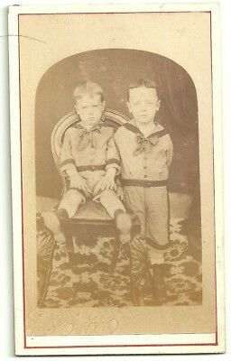 Victorian cdv photo two small boys  unstated   photographer