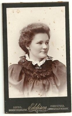 Victorian cdv photo young lady back combed hair Yorkshire   photographer