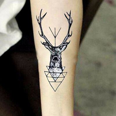 Black Stag Deer Elk Womens Vigina illusions Temporary Tattoos Sticker Halloween
